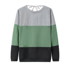 Casual Contrast Color Stitching Round Neck Long Sleeve Loose Women s Sweatshirt (Color:Army Green Size:L)