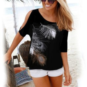 Casual Short Sleeve Tops Tees Sexy Off Shoulder Feather Print O-neck Loose Shirts for Women, Size:M(Black)