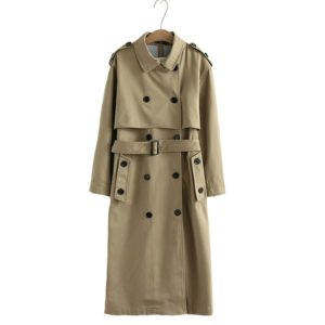 Women Casual Solid Color Double Breasted Outwear Sashes Coat Chic Epaulet Design Long Trench, Size:S(khaki)