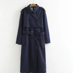 Women Casual Solid Color Double Breasted Outwear Sashes Coat Chic Epaulet Design Long Trench, Size:M(Dark Blue)
