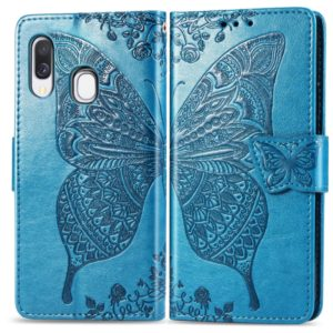 Butterfly Love Flowers Embossing Horizontal Flip Leather Case for Galaxy A40, with Holder & Card Slots & Wallet & Lanyard (Blue)