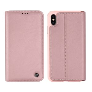 For iPhone XR GEBEI Shockproof TPU + PU Horizontal Flip Leather Case with Card Slots & Holder(Rose Gold) (GEBEI)