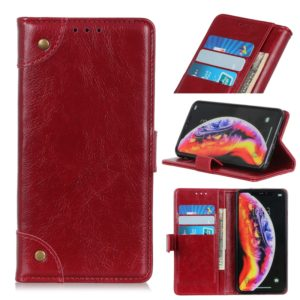 Copper Buckle Nappa Texture Horizontal Flip Leather Case for Galaxy A10, with Holder & Card Slots & Wallet (Wine Red)