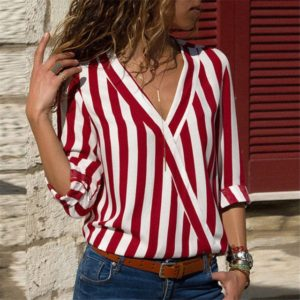 Women Striped Shirt Long Sleeve V-neck Shirts Casual Tops Blouse, Size:S(Red)
