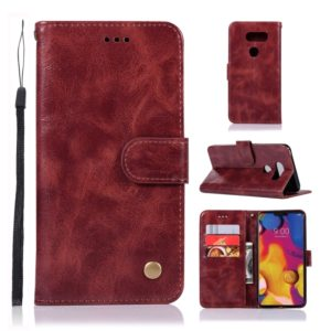 For LG V40 ThinQ Retro Copper Buckle Crazy Horse Horizontal Flip PU Leather Case with Holder & Card Slots & Wallet & Lanyard(Wine red)