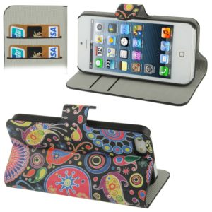 Colorful Abstract Pattern Horizontal Flip Leather Case with Credit Card Slot & Holder for iPhone 5 & 5s & SE & SE
