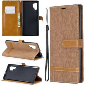 Color Matching Denim Texture Horizontal Flip Leather Case with Holder & Card Slots & Wallet & Lanyard for Galaxy Note10+(Brown)