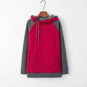 Stitched Hooded Zipper Long Sleeve Sweatshirt (Color:Wine Red Size:XXL)