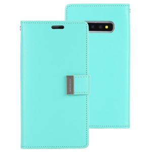 GOOSPERY RICH DIARY PU + TPU Crazy Horse Texture Horizontal Flip Leather Case for Galaxy S10+, with Card Slots & Wallet & Photo frame(Mint Green) (GOOSPERY)