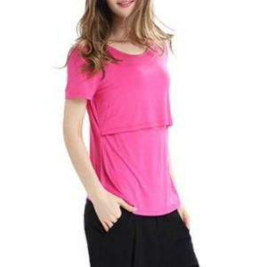 Long Sleeve Pregnancy Breast Maternity Nursing Tops For Feeding Clothes, Size:M(Pink)