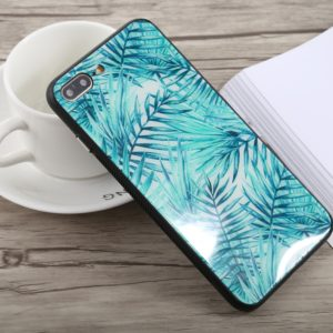 Simple Style Green Leaves Pattern Shockproof Glass Protective Case for iPhone 8 Plus & 7 Plus