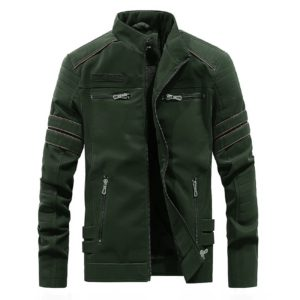 Men Casual Leather Jacket Coat (Color:Army Green Size:XXXL)