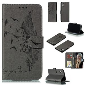 Feather Pattern Litchi Texture Horizontal Flip Leather Case with Wallet & Holder & Card Slots For iPhone XR(Gray)