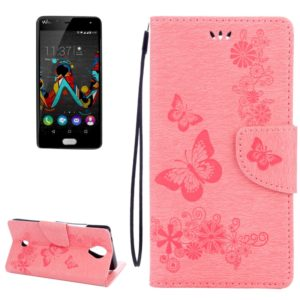Butterflies Embossing Horizontal Flip Leather Case for Wiko U Feel, with Holder & Card Slots & Wallet & Lanyard(Pink)