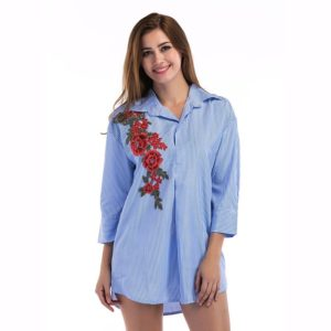 Loose Striped Safflower Shirt (Color:Blue Size:S)