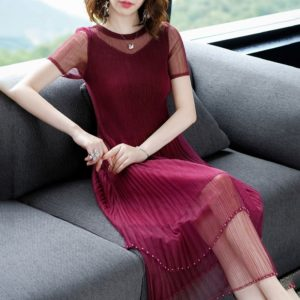 Fashion Pleated Lace Waist Dress (Color:Wine Red Size:One Size)