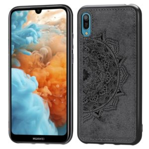 Embossed Mandala Pattern Magnetic PC + TPU + Fabric Shockproof Case for Huawei Y6 Pro (2019) without Fingerprint Hole(Black)