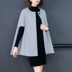 A Buckle Loose Cloak Cape Wool Coat (Grey)