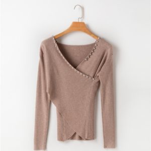 Women Pearl V-neck Sweater (Color:Brown Size:One Size)