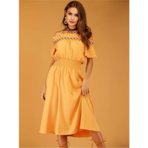 Off-the-shoulder Maxi Skirt Dress (Color:Yellow Size:S)