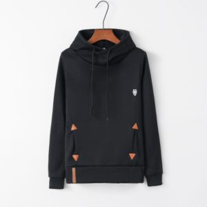 Autumn Fashion Long Sleeve Pocket Embroidered Hooded Shirt (Color:Black Size:XL)