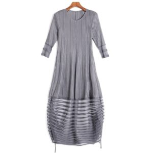 Loose Temperament Long Sections Pleated Dress (Color:Grey Size:One Size)