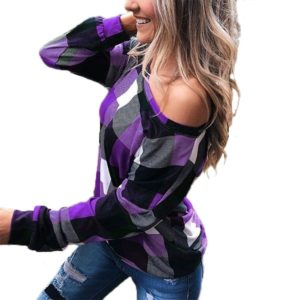 Off-the-shoulder Plaid Slim Long-sleeved Top (Color:Purple Size:XL)