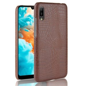 Shockproof Crocodile Texture PC + PU Case for Huawei Y6 Pro (2019) (Brown)