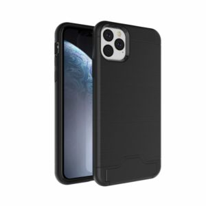 Ultra-thin TPU+PC Brushed Texture Shockproof Protective Case for iPhone 11 Pro Max , with Holder & Card Slot(Black)