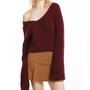 Trumpet Sleeves Head Sexy V-neck Short Sweater, Size: M(Wine Red )