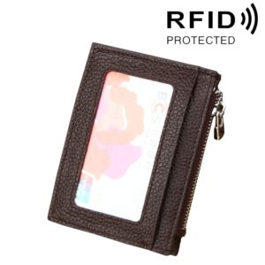 Cowhide Leather Solid Color Zipper Card Holder Wallet RFID Blocking Card Bag Protect Case Coin Purse, Size: 11*8*1.5cm(Coffee)