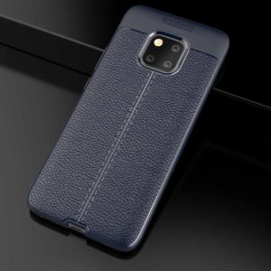 Litchi Texture TPU Shockproof Case for Huawei Mate 20 Pro (Navy Blue)