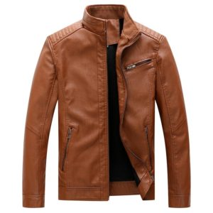 Men Casual Non-iron Stand Collar PU Leather Jacket(Color:Khaki Size:XXL)