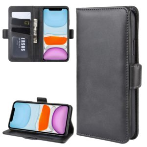 For iPhone 11 Double Buckle Crazy Horse Business Mobile Phone Holster with Card Wallet Bracket Function(Black)