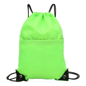 Drawstring Nylon Double Shoulders Sports Backpack Bag (Green)