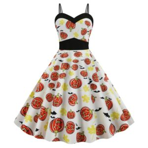 Printed Harness Big Swing Dress (Color:Orange Size:XL)