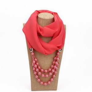 2 PCS National Style Scarf with Imitation Pearl Necklace(Watermelon red)