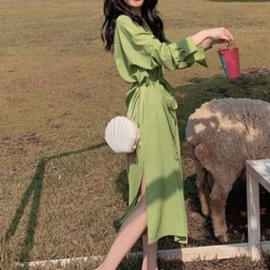 Slim Shirt Long Sleeve Dress (Color:Green Size:S)
