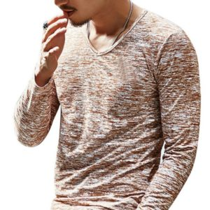 Slim Streetwear V-neck T Shirt Casual Fitness Tops Long Sleeve Pullover Shirt for Men(Coffee)