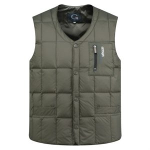 White Duck Down Jacket Vest Men Middle-aged Autumn Winter Warm Sleeveless Coat, Size:XL(Green)