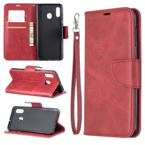 Retro Lambskin Texture Pure Color Horizontal Flip PU Leather Case for Galaxy A20&A30, with Holder & Card Slots & Wallet & Lanyard(Red)