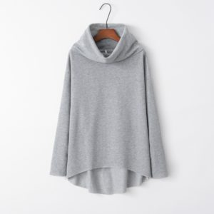 Irregular High Collar Sweater (Color:Gray Size:L)