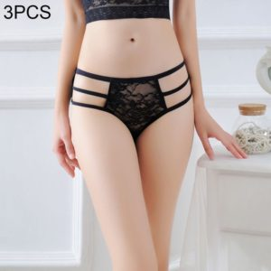 3 PCS FunAdd Women Sexy Straps Lace Jacquard Underwear Hollow Perspective Low-waisted Enticing Panties, Free Size (Black) (FunAdd)