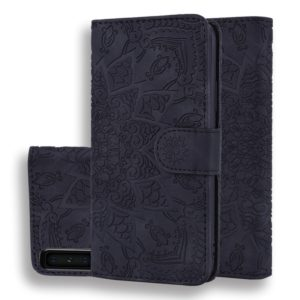 Calf Pattern Double Folding Design Embossed Leather Case with Wallet & Holder & Card Slots for Galaxy A7 (2018)(Black)