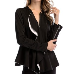 Fungus Door Zipper Long Sleeve Ladies Small Suit (Color:Black Size:L)