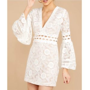 Lace Up Short Sleeve Dress Cake Dress (Color:White Size:S)