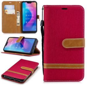 Color Matching Denim TextureColor Matching Denim Texture Leather Case for Xiaomi Redmi 6 Pro, with Holder & Card Slots & Wallet & Lanyard(Red)