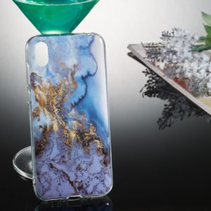 Coloured Drawing Pattern IMD Workmanship Soft TPU Protective Case For Huawei Y5 2019(Sea Blue Marble)
