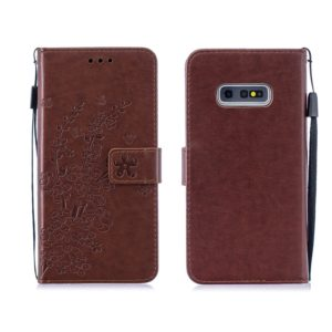 For Galaxy S10+ Plum Flowers Pattern Horizontal Flip Leather Case with Holder & Card Slots & Wallet & Lanyard(Brown)
