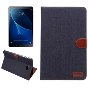 For Galaxy Tab A 10.1 / T580 Jeans Cloth Surface Horizontal Flip Leather Case with Card Slots & Holder & Wallet & Photo Frame(Black)